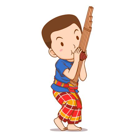 Personaje de dibujos animados de niño tocando el instrumento Khaen.