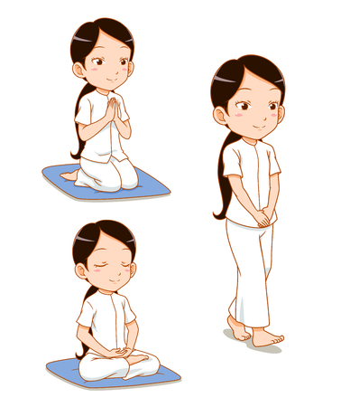 Cartoon character of girl meditating, observe Buddhist Precepts, practices Dharma. Ilustração