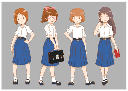 Set of cartoon high school girls.  イラスト・ベクター素材