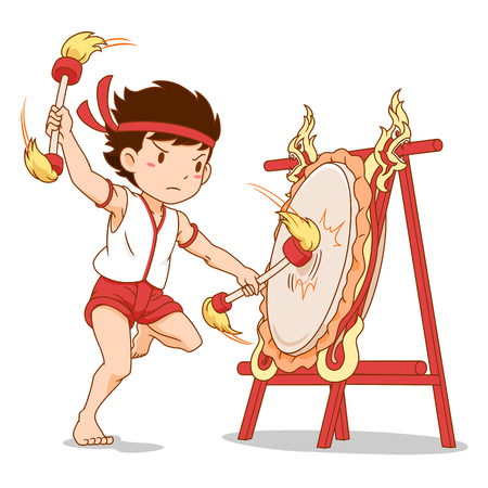 Cartoon character of Boy beating Thai Northern drum.