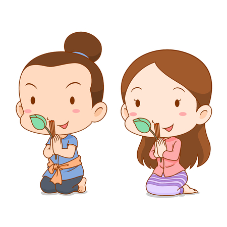 Cute couple cartoon in Thai costume praying with incense sticks and lotus.