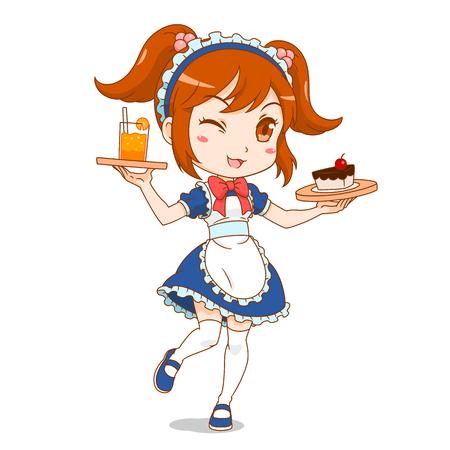Personnage de dessin animé de fille de maid café.
