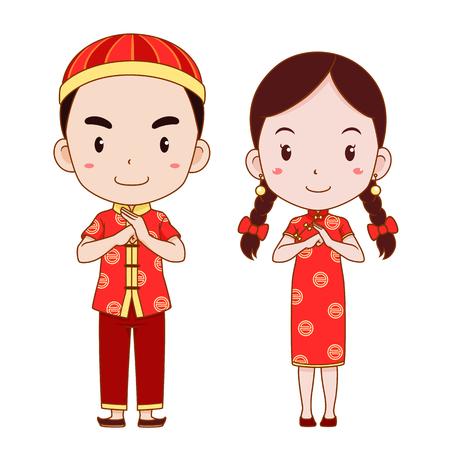 Feliz año nuevo chino con dibujos animados de linda pareja en traje tradicional chino.