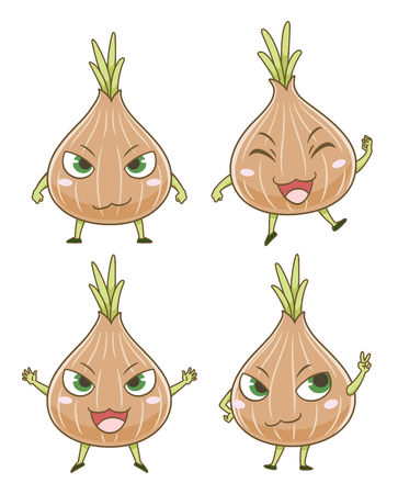 Set of cute cartoon onions in different poses. Ilustração