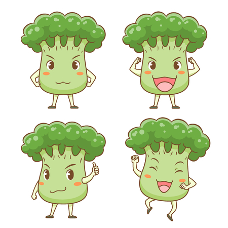 Set of Cute cartoon broccoli in different poses.