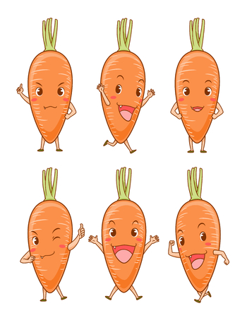 Set of Cute cartoon carrots in different poses.