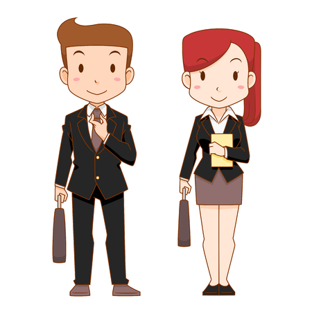 Cute cartoon characters of business man and woman. Ilustração