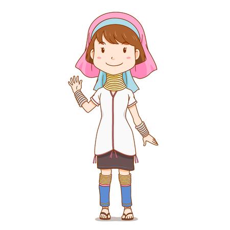 Cartoon character of long neck Karen, Hill Tribe.
