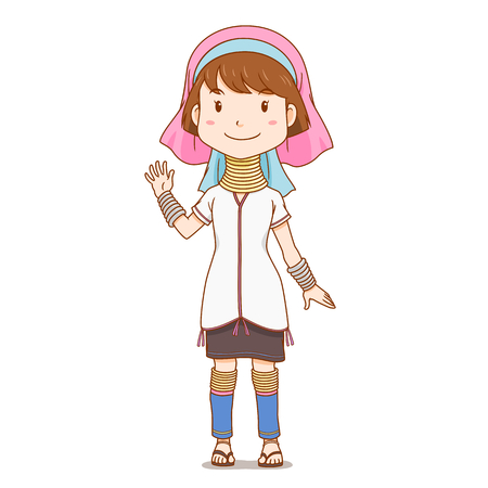Zeichentrickfigur von Karen mit langem Hals, Hill Tribe.