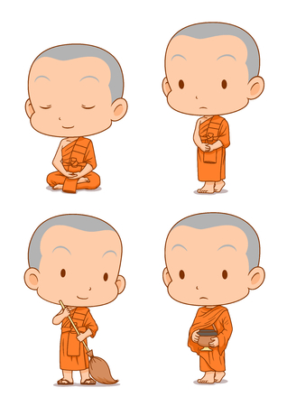 Cartoon character of Buddhist monks in different poses. Ilustração