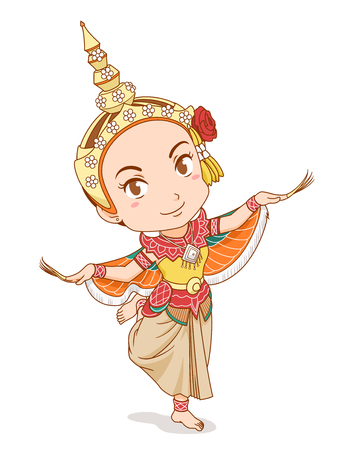 Cartoon character of traditional Thai dancer in Kinnari dress.