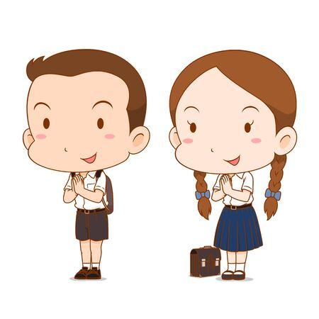Caricatura linda pareja de niño y niña de secundaria.
