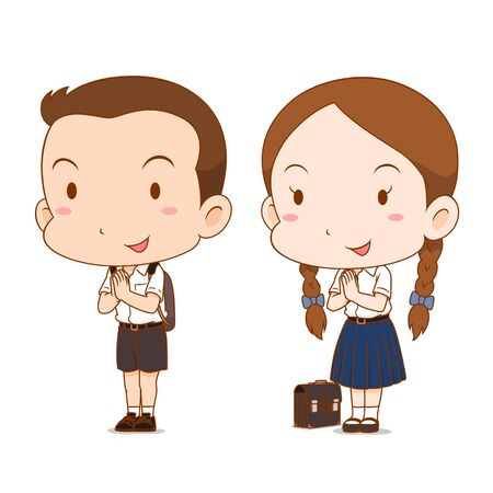 Cute couple cartoon of high school boy and girl. Иллюстрация