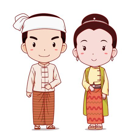 Couple of cartoon characters in Myanmar traditional costume.