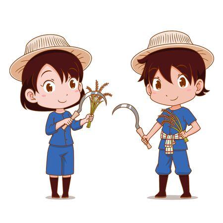 Caricatura linda pareja de agricultores tailandeses.