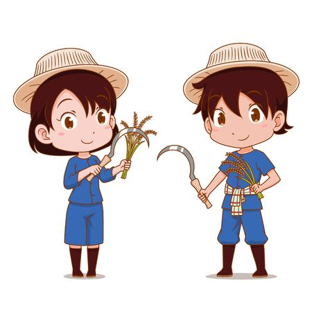 Cute couple cartoon of Thai farmers. 向量圖像