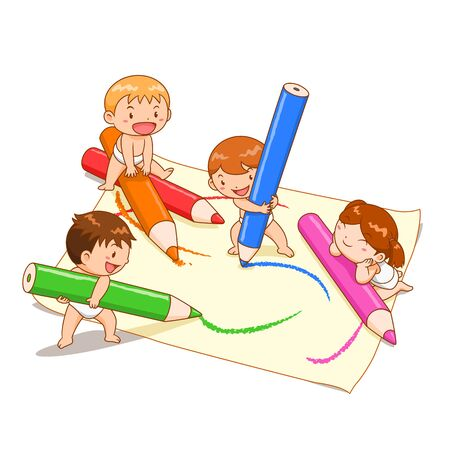 Cartoon illustration of cute kids playing colour pencils on paper. Ilustração