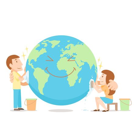 Cartoon illustration Man and Woman cleaning up the World.