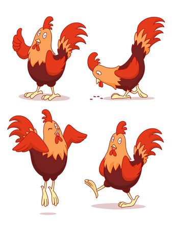 Set of cartoon chicken in different poses. Ilustração