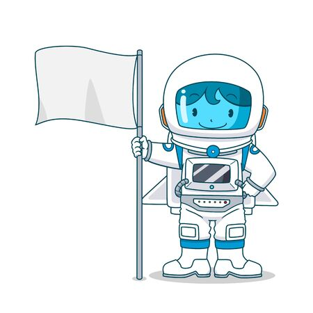 Cartoon character of astronaut with flag, Vector illustration.