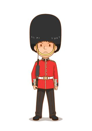 Cartoon character of British Royal Guard in traditional uniform, British soldier.