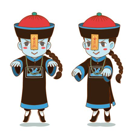 Cartoon character of Chinese zombie, Chinese ghost. 向量圖像