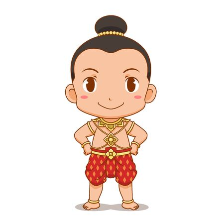 Cartoon character of Thai Boy in traditional costume.