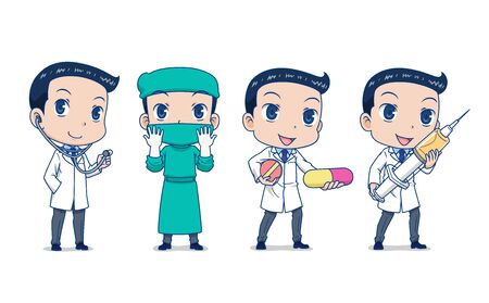 Set of Cartoon Doctor in different poses.