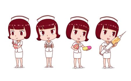 Set of Cartoon Nurse in different poses.