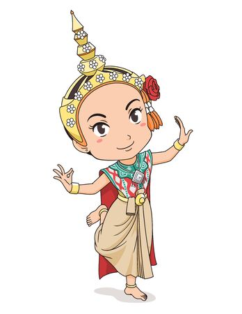 Cartoon character of traditional Thai dancer girl. Ilustração