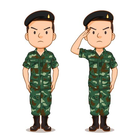 Cartoon character of Thai soldier. Illustration