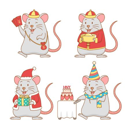 Set of cute cartoon rats for New year, year of the rat. Illustration