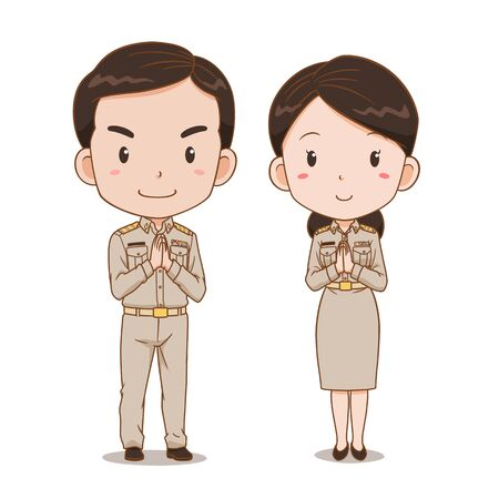 Cute couple cartoon of Thai government officers. 矢量图像