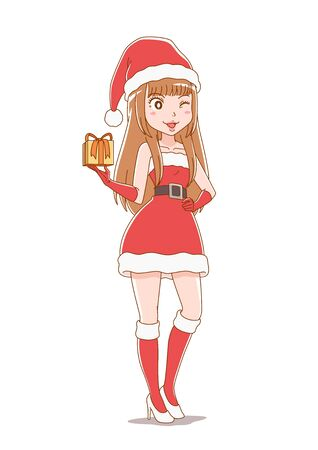 Cartoon character girl wearing santa claus clothes.