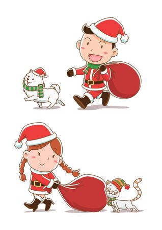 Cartoon illustration of boy and girl dressing Santa Claus cloths, walking with cat and dog. Ilustração