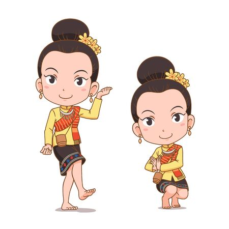 Cartoon character of traditional Thai dancer girl. Serng Kratip dance.