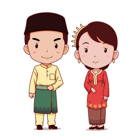 Par de personajes de dibujos animados en traje tradicional de Malasia.