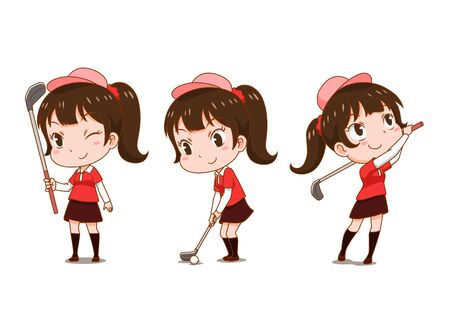 Cartoon character of girl playing golf.
