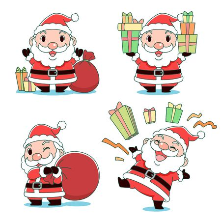 Set of cute cartoon Santa Claus in different poses. Illustration