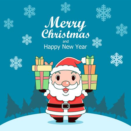 Merry Christmas greeting card with Santa Claus holding gift boxes.