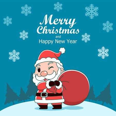 Merry Christmas greeting card with Santa Claus holding bag.