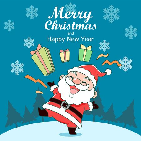 Merry Christmas greeting card with Santa Claus and gift boxes. Illustration