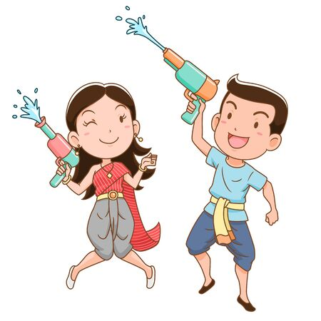 Cartoon character of boy and girl holding water gun in Songkran festival, Thailand. Illustration