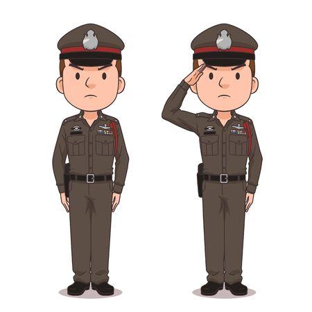 Personnage de dessin animé de la police thaïlandaise. Vecteurs
