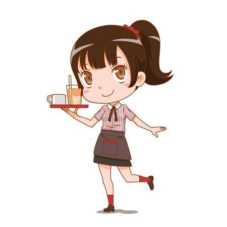 Zeichentrickfigur der Kellnerin, die ein Serviertablett hält.