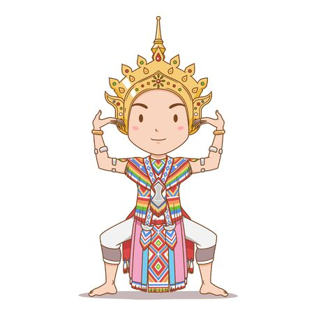 Cartoon character of traditional Thai dancer in Southern Thailand. Menorah dance. Illustration