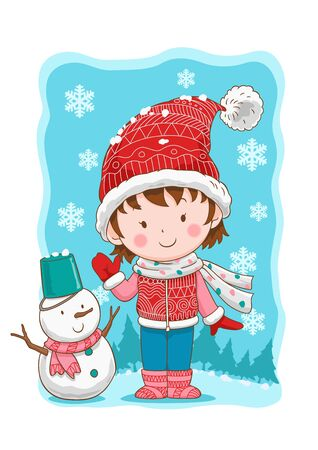 Cute winter girl and snowman.