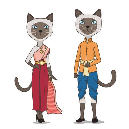 Couple of cartoon Siamese cats wearing Thai traditional costume.