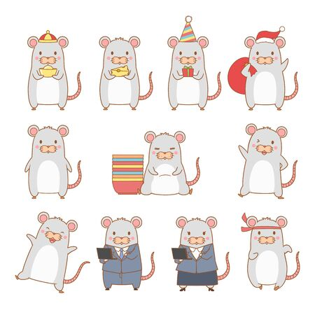 Set of cartoon rat in different poses for Year of the rat.