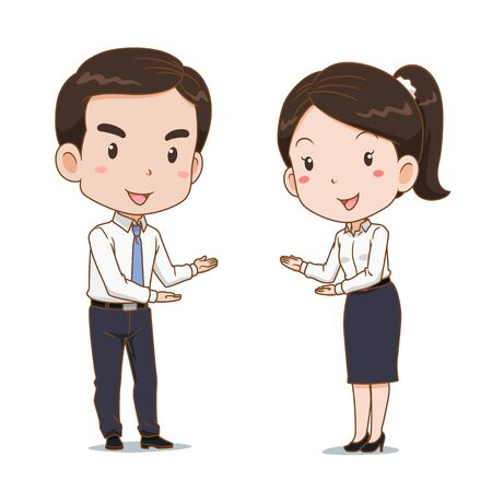 Cartoon of business man and woman in welcoming poses.